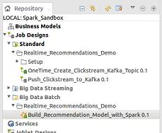 Double click on Build_Recommendation_Model_with _Spark This opens the job in the designer window. 4.