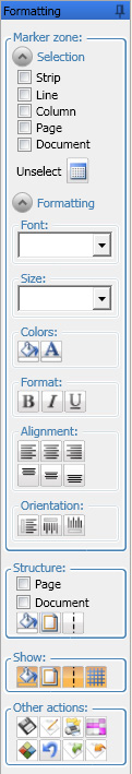 "Select ""Line"", ""Column"", ""Strip"" or ""Document"" to adapt your selection. A single click on a marker applies the selection mode."