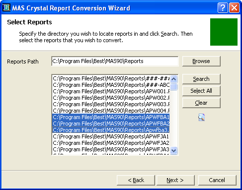 ...... Appendix B Converting MAS 90 Crystal Reports from a Prior Version 6 At the Reports Path field, enter the path, or click Browse and select the directory to search for reports that require conversion.