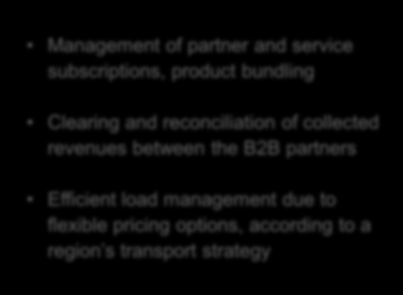 reconciliation of collected revenues between the B2B partners Efficient load