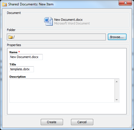 The Create New Document dialog displays: 2. Choose your document type from the Site Templates tab or the Other tab. 3. Enter a name for the document, and click Create.