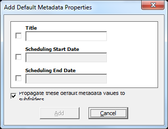 Setting Default Metadata If you want to tag all documents and items that you add or upload to a list or library with the same metadata, you can set default metadata values through the Contributor