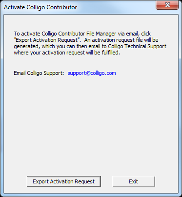 Activating Contributor File Manager Manually If you are unable to connect to the activation server, the following error message displays: Click Activate via Email to create an activation request file.