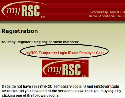 Click on Temporary Login ID and Employer Code 5.