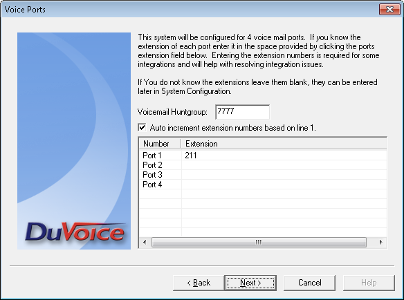 The Voice Ports screen is displayed. For Voicemail Huntgroup, enter the hospitality hunt group extension from Section 5.5. Assign each SIP base extension from Section 5.