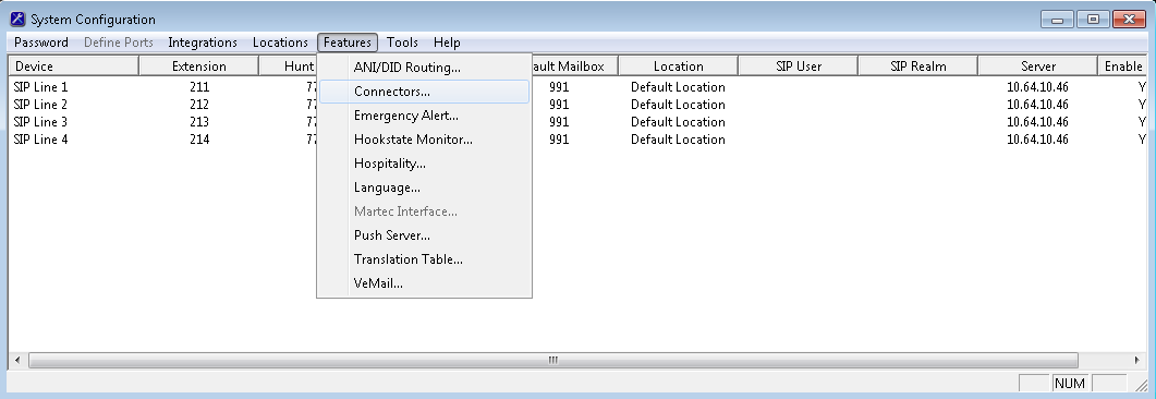 6.3. Administer Connectors The System Configuration screen is