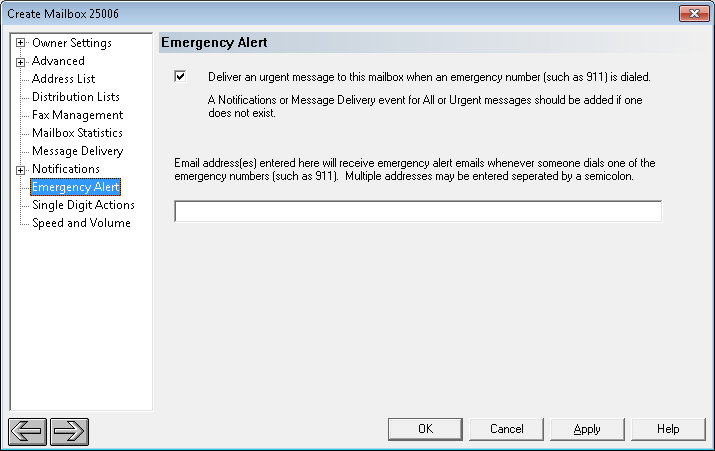 Select Emergency Alert in the left pane, and enable Emergency alerts by checking