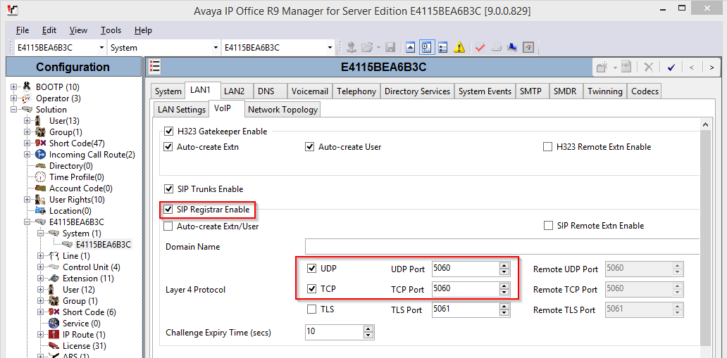 5.2. Administer SIP Registrar Select the VoIP sub-tab. Make certain that SIP Registrar Enable is checked, as shown below.