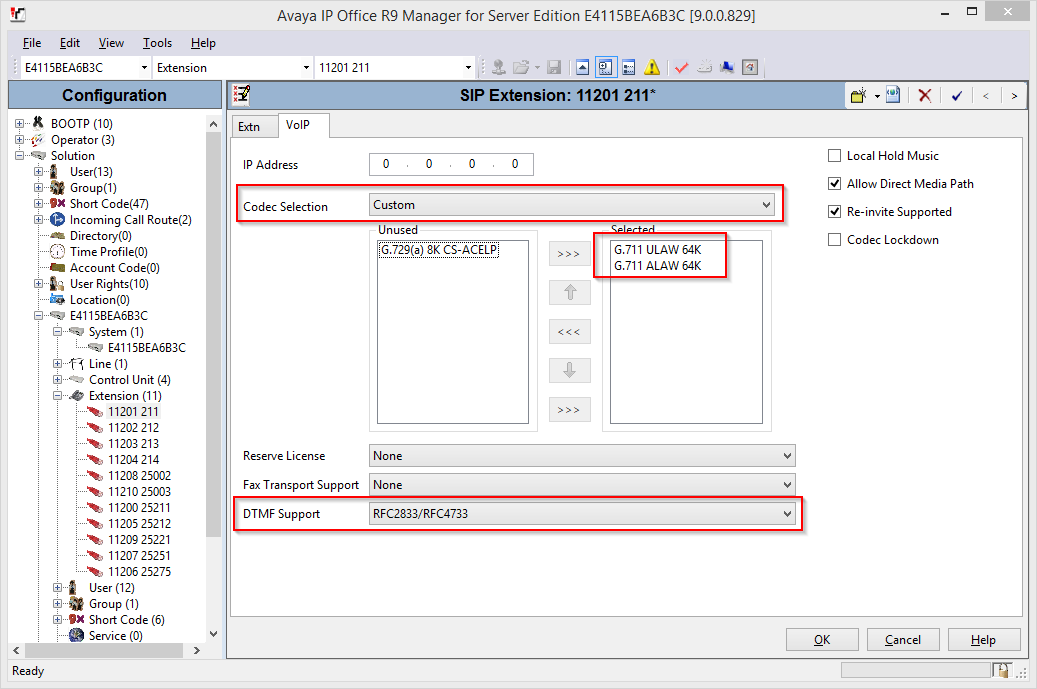 Select the VoIP tab. For Codec Selection, select Custom and move G.711 ULAW 64K and G.