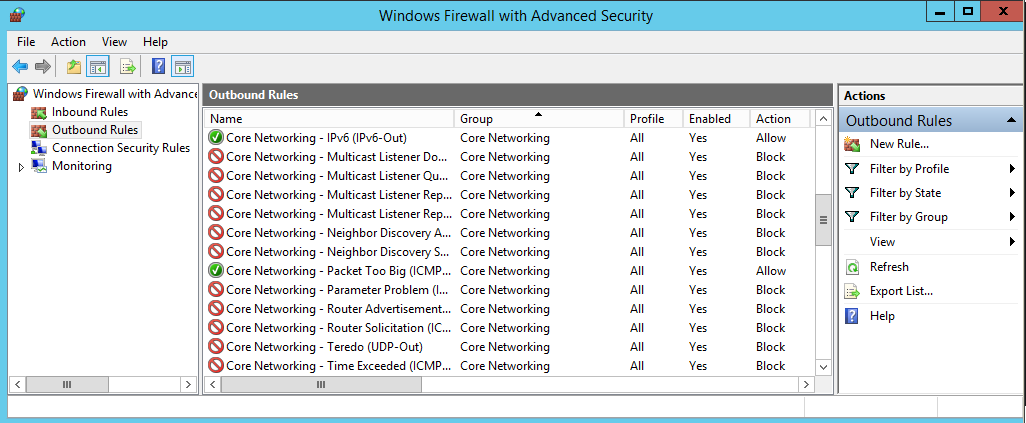 Figure 7: Outbound ICMPv6 Rules at Windows 2012 R2 server after hardening 6.