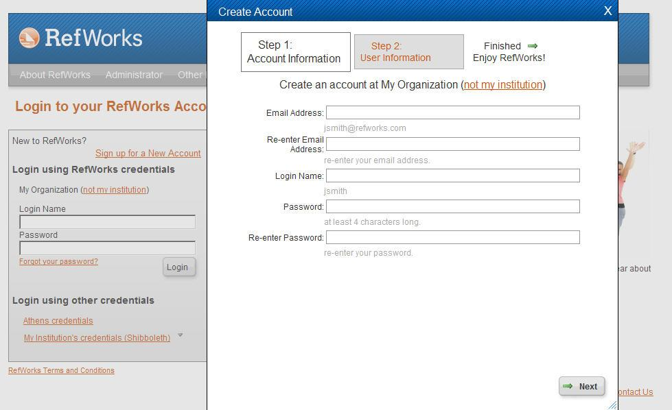 Task 1: Set-up an account 1. Visit your library website and click on the RefWorks Login Link (Alternatively visit www.refworks.com/refworks) 2. Click on Sign up for an New Account. 3.