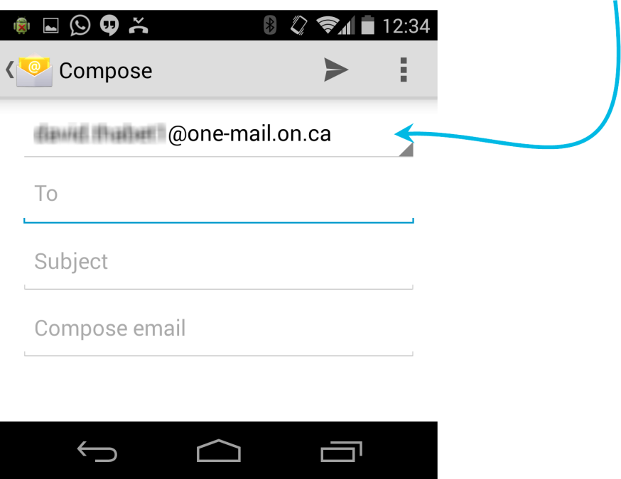 When composing a message on an Android device configured for multiple e-mail accounts, be sure to select the appropriate account from which the message should be sent.
