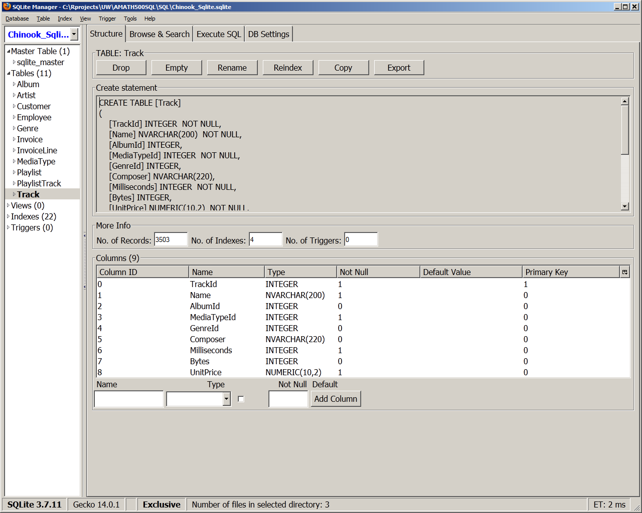 SQLite Manager for Firefox Guy Yollin (Copyright 2012)