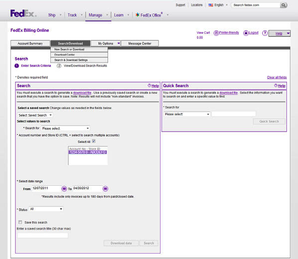 5 Search / Download Use this screen to create and define detailed online reports.