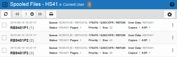 Active Jobs / Spooled Files Viewing the Spooled Files Page To view the Spooled Files page, click Spooled Files under the Robot SCHEDULE menu.