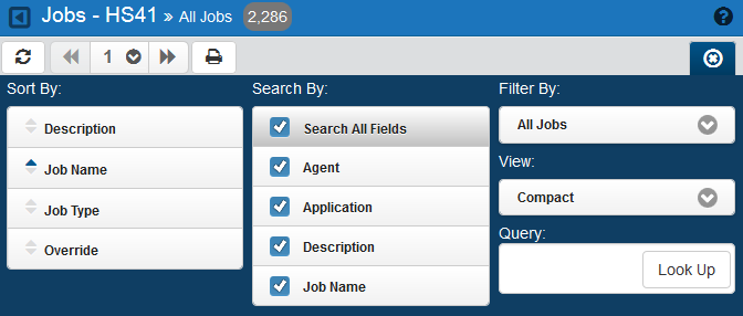 Jobs / Sorting and Filtering the Jobs Display Follow these steps: 1. Click the Settings button. 2. Select how you want the lists sorted (Sort By).