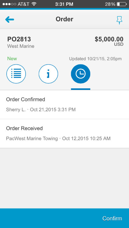 It also lists when the order was invoiced, shipped, or had any other status changes.