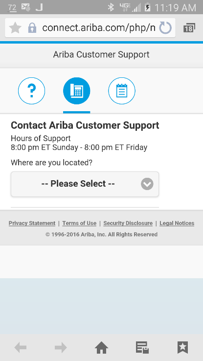 2. Click on the appropriate icons to access specific support options via FAQs, phone, or email. Copyright 2016 Ariba, Inc. All rights reserved.