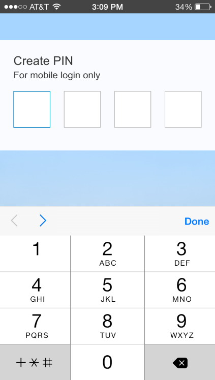 7. To enable touch ID for login (if your device supports it), select the Yes option under Use Touch ID.