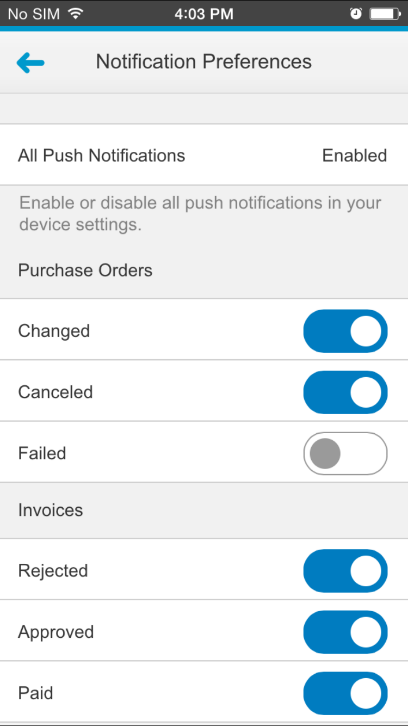 3. To define the notifications you want to see or receive in your mobile app, go to Notification Preferences, then enable and disable the preferences you would like by sliding the toggle to the right