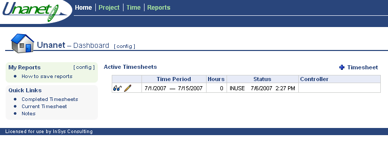 Step 1 Adding a Timesheet View active timesheet Edit active timesheet Navigate to your Time dashboard by clicking here. From your Home dashboard, click + Timesheet to create a new timesheet.