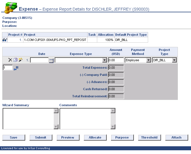 Step 1 Adding an Expense Record Select + Expense to add an expense.