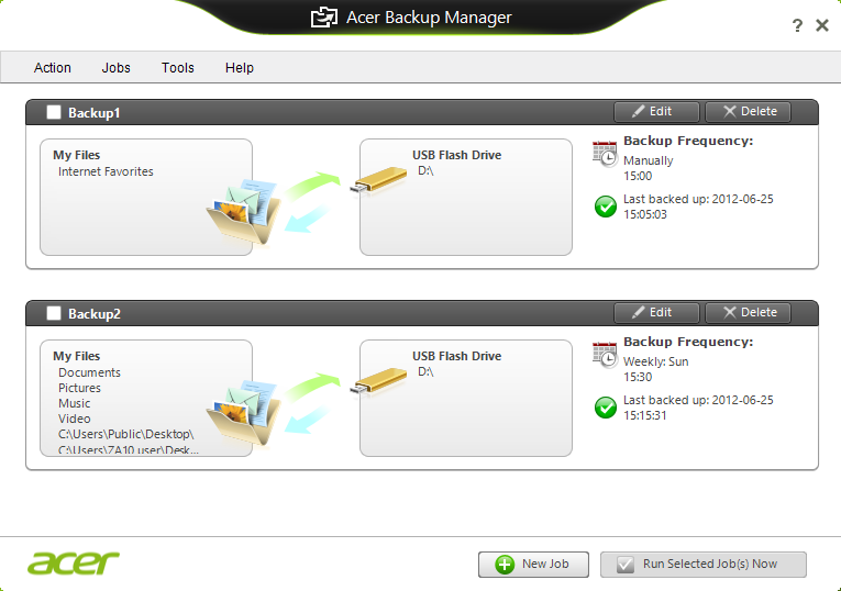 Acer Backup Manager - 25 1. Select the content you want to back up. The less content you select, the quicker the process will be, but it will increase your risks of losing data. 2. Select where you want the backup copies to be stored.