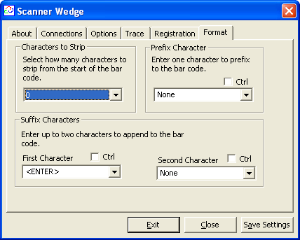 Formatting Output Scanner Wedge receives bar code data from the scanner and forwards it to other applications you might use, such as Microsoft Excel.