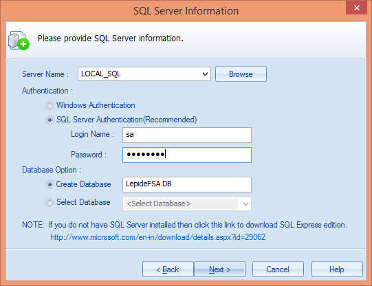 11. Once the details are entered, click Next. At the next step, you have to provide the details of SQL Server. Figure 19: Enter the details of SQL Server and database 12.