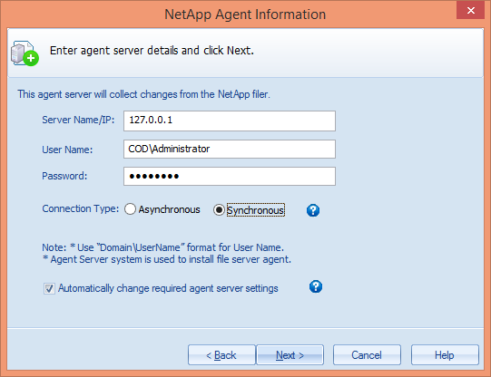 Figure 26: NetApp Agent Information NOTE: You can install the agent on another system apart from NetApp Filer.