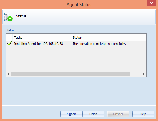 Figure 28: Installing the agent for NetApp Filer 29. Once the installation is done, Finish button will be activated. 30.