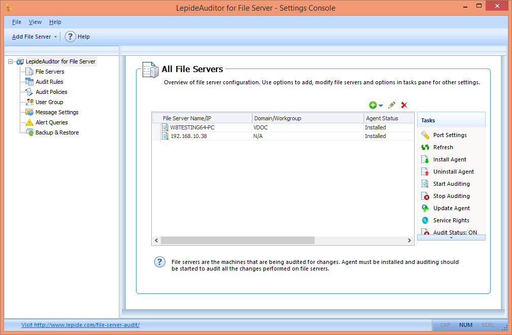 Figure 32: File Server Management Click click here link to access the console of File Server