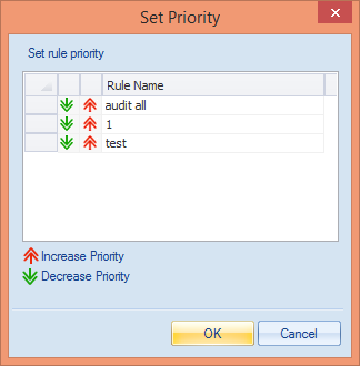 Figure 46: Rules Management 2. In Rules Management, click icon. It displays the following dialog box. Figure 47: Set Priority dialog box 3.