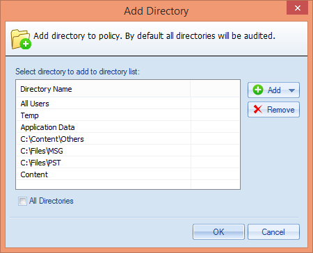 Figure 53: Add the default user directories Select the desired default directories and click OK It takes you back to Add Directory wizard. iii.