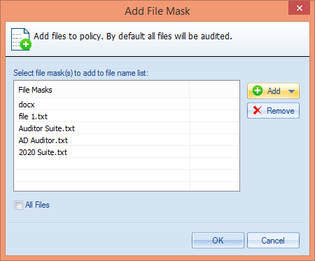 Figure 59: Added File Masks iii. iv. To delete a File Mask, you can select it and click Remove button. Click OK once you have added the required file masks.