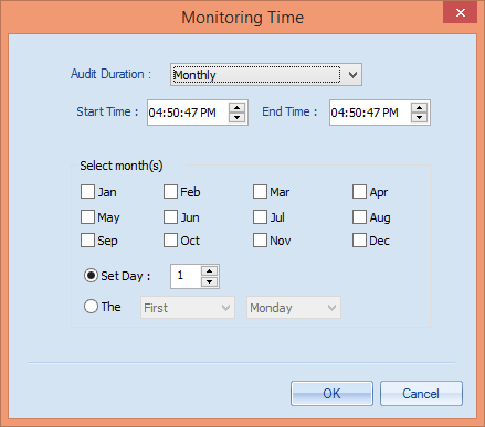 Weekly: Select this option to audit on a weekly basis. Figure 71: Add Weekly Monitoring Time Define the start and date time.