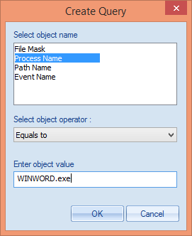 4. Click Create Query to access its dialog box. Figure 84: Create Query Window 5. In Select Object Name section, there are four options. a. File Mask: Select it to create the query related to the file mask (file name or extension).