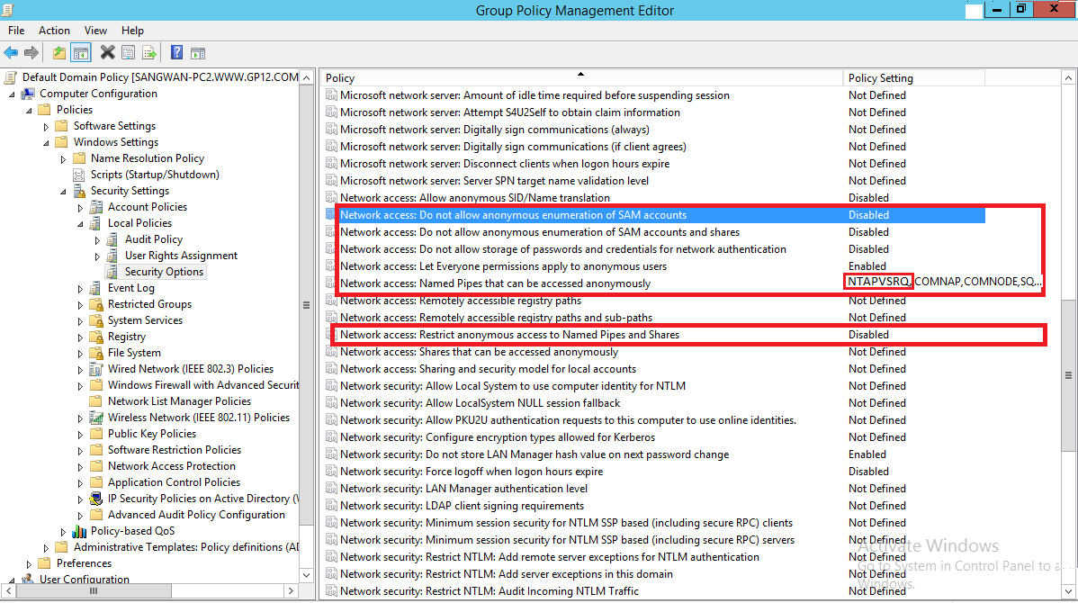 Figure 2: Highlighting Group Policies for NetApp Filer Follow the steps below to perform these settings: 1. Type gpmc.msc in Run or search in Start Menu.