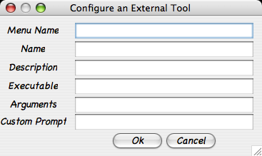 This image shows the external tool configuration window. A user enters the menu they want the tool to appear under. The user can specify a comma separated list of names to create a menu chain.