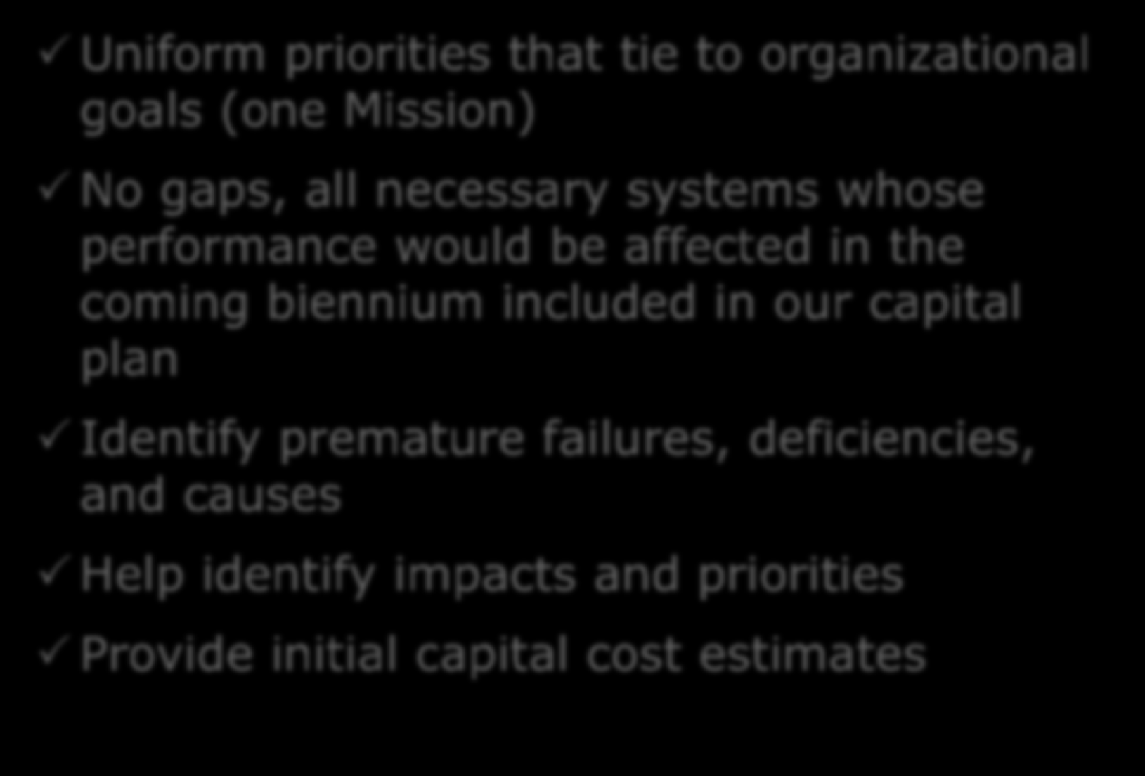 The FCA Objectives Uniform priorities that tie to organizational goals (one Mission) No gaps, all necessary systems whose performance would be affected in the coming