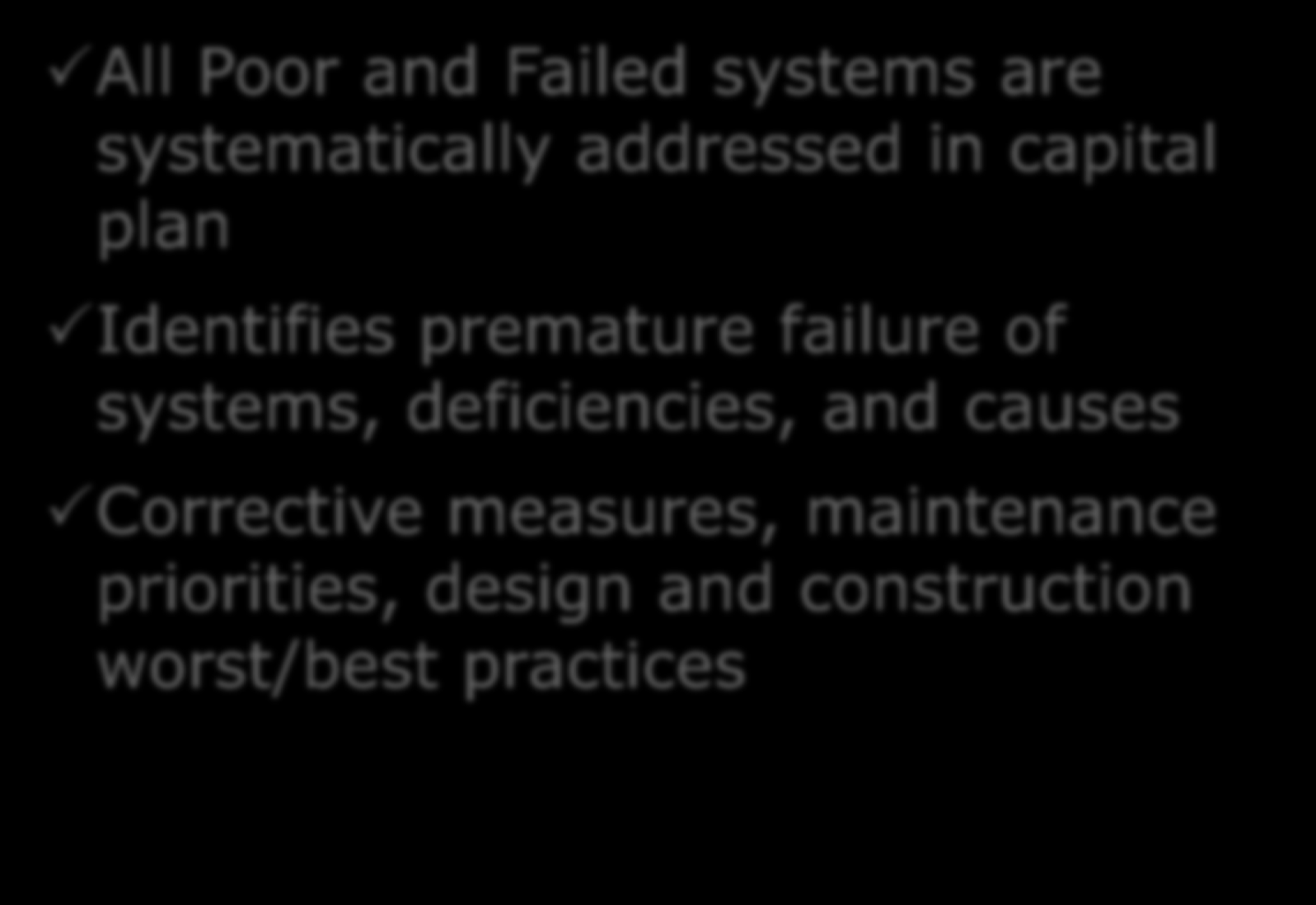 FCA Results All Poor and Failed systems are systematically addressed in capital plan Identifies premature failure of