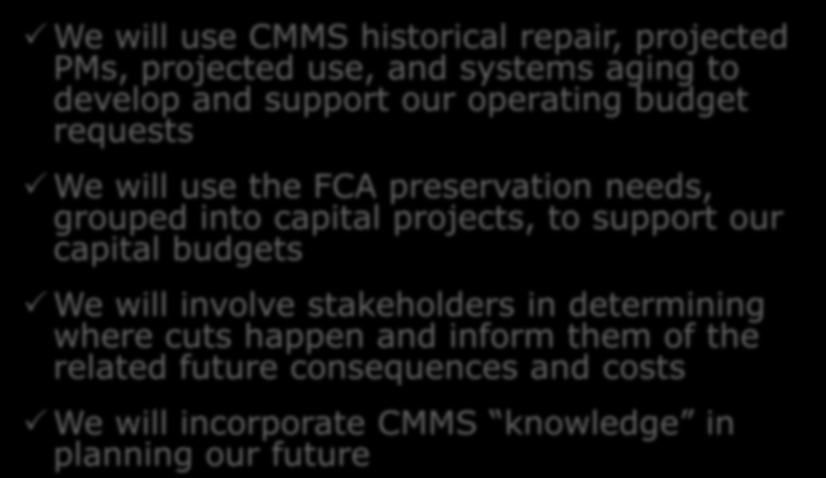 Planning and Budgeting We will use CMMS historical repair, projected PMs, projected use, and systems aging to develop and support our operating budget requests We will use the FCA preservation needs,