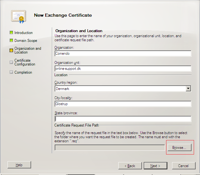 6. At the next screen, you will be able to review a list of the names which Exchange 2010 suggests you include in your certificate request. Review those names and add any extra names at this point. 7.