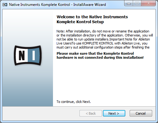 KOMPLETE KONTROL Software Installation Downloading and Installing the KOMPLETE KONTROL Software on Windows The welcome screen contains important information.