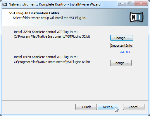 KOMPLETE KONTROL Software Installation Downloading and Installing the KOMPLETE KONTROL Software on Windows The plug-in folder Selection screen of the installation program.