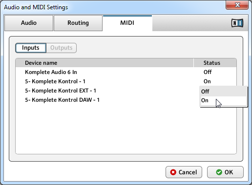 KOMPLETE KONTROL Stand-alone Operation Setting up MIDI Connections 7.