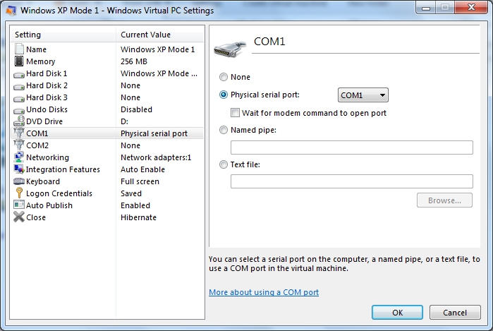 5. in the left pane of the Windows Virtual PC Settings page, click the name of an available COM port. e.g. COM 1 6. In the right pane, select the type of connection you want to make see Fig.2 above 7.