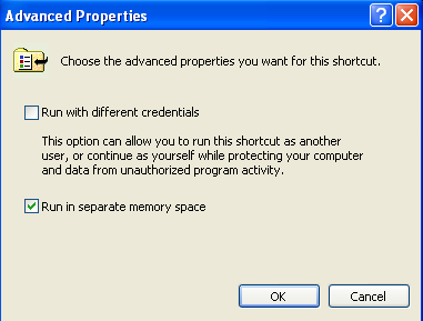 4. On the Advanced Properties page, check the box that says Run in separate memory space 5. click OK to save changes 6.