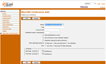 MEET-ME CONFERENCIING Creating Conferences Access You have access to Conferencing features if you have been authorized to administer a Meet-Me conference bridge. 1.