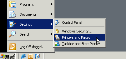 You should now see, that your desired printer is the default printer (ticked with a ) When you now close the dialog, there s a Warning that informs you, that the settings will take effect for new